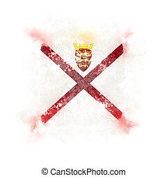 Square grunge flag of jersey. 3D illustration