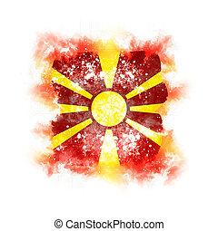 Square grunge flag of macedonia