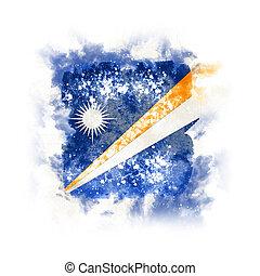 Square grunge flag of marshall islands