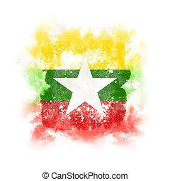 Square grunge flag of myanmar