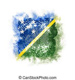 Square grunge flag of solomon islands