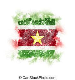 Square grunge flag of suriname