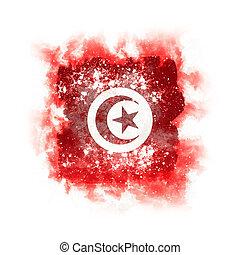 Square grunge flag of tunisia