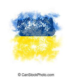 Square grunge flag of ukraine