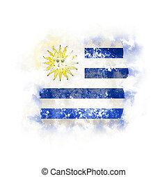 Square grunge flag of uruguay
