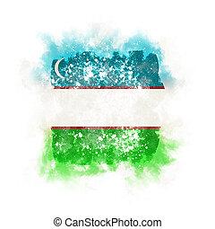 Square grunge flag of uzbekistan