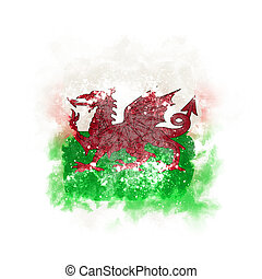 Square grunge flag of wales