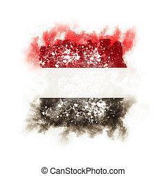 Square grunge flag of yemen