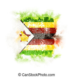 Square grunge flag of zimbabwe