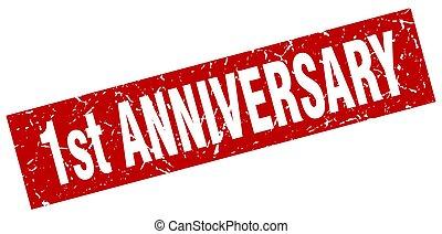 square grunge red 1st anniversary stamp