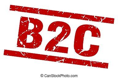 square grunge red b2c stamp