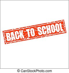 square grunge red back to school stamp
