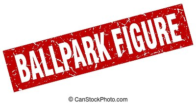 square grunge red ballpark figure stamp