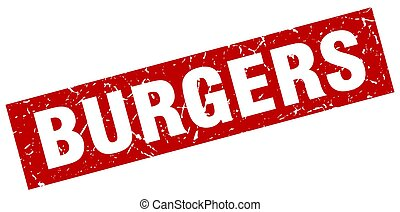 square grunge red burgers stamp