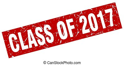 square grunge red class of 2017 stamp