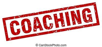 square grunge red coaching stamp