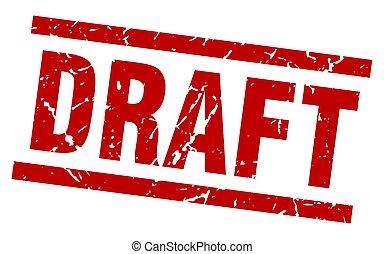 square grunge red draft stamp