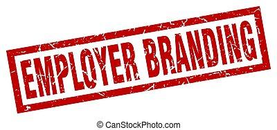 square grunge red employer branding stamp