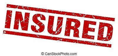 square grunge red insured stamp