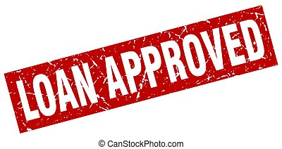 square grunge red loan approved stamp