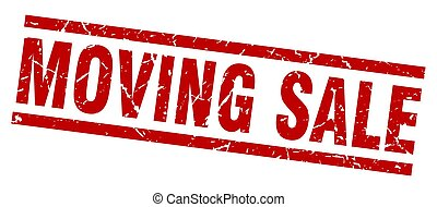 square grunge red moving sale stamp