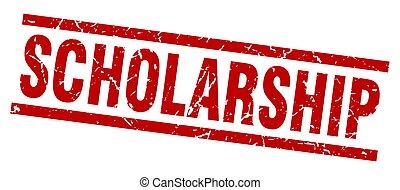 square grunge red scholarship stamp
