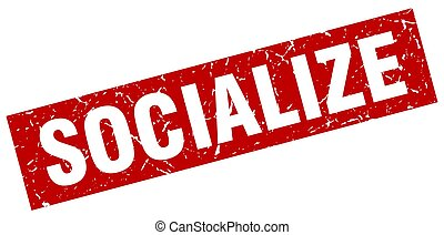 square grunge red socialize stamp
