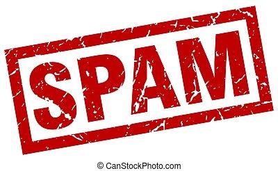 square grunge red spam stamp