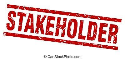 square grunge red stakeholder stamp