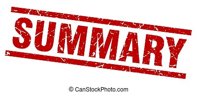 square grunge red summary stamp
