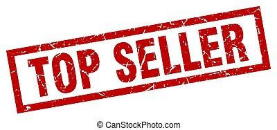 square grunge red top seller stamp