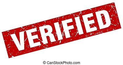 square grunge red verified stamp