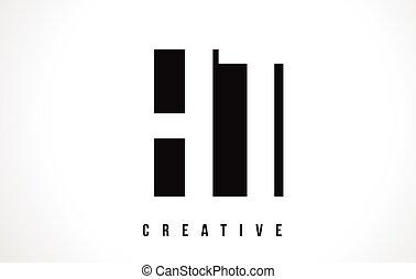 square., h, ht, design, t, brev, logo, vit, svart
