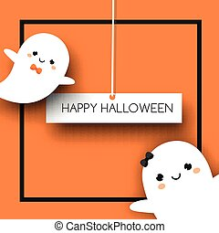 Square halloween banner with cute ghosts in kawaii style