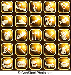 Collection of 25 buttons with a cooking theme. Graphics are grouped and in several layers for easy editing. The file can be scaled to any size.