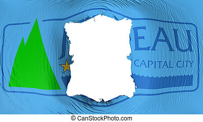 Square hole in the Juneau city capital flag - Square hole in...