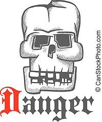 Square human skull engraving sketch symbol
