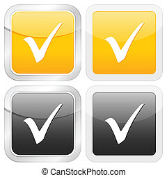 square icon check symbol set on white background. Vector...