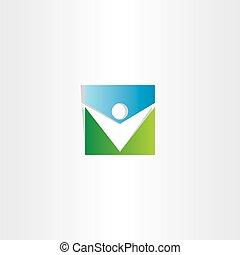 square icon green blue man vector