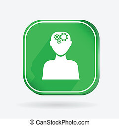square icon, man thinks, the gears in head