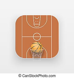 Square icon of basketball sport