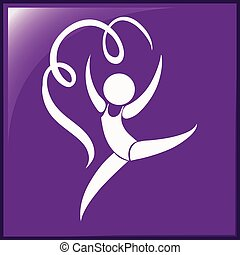 Square icon of gymnastics with ribbon