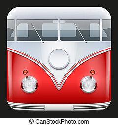 Square Icon Popular hippie bus classic Camper Van. Vector Illustration.