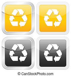 square icon recycle symbol