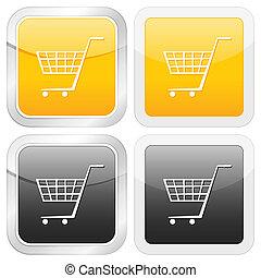 square icon shopping cart symbol