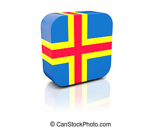 Square icon with flag of aland islands