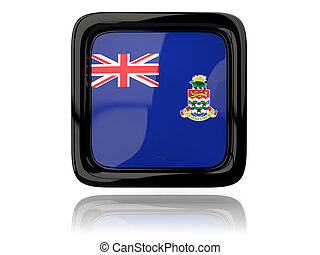 Square icon with flag of cayman islands. 3D illustration
