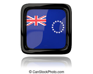 Square icon with flag of cook islands. 3D illustration