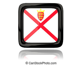 Square icon with flag of jersey. 3D illustration