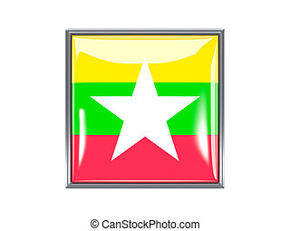 Square icon with flag of myanmar